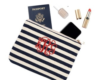 Striped Monogrammed Pouch | Personalized Zipper Bag