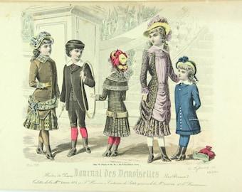 French fashion print, Journal des Demoiselles Paris 1880s victorian dresses, crinolines
