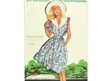 Vintage French fashion magazine Modes & Travaux,  1947 summer fashion news