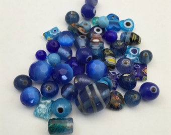 50 mixed glass beads blue shades  #PV082