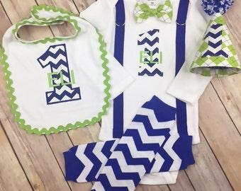 Cake Smash, Baby Boy 1st Birthday Outfit - Bodysuit with Lime Green Argyle Bow Tie, Royal Blue Suspenders,  Party Hat, Leg Warmers