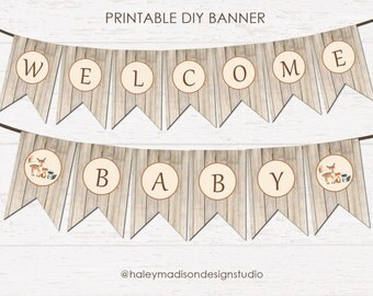 Woodland Banner, Welcome Baby Banner, Baby Shower Banner DIGITAL FILE PDF HM111