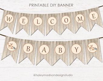 Woodland Banner, Welcome Baby Banner, Baby Shower Banner DIGITAL FILE PDF