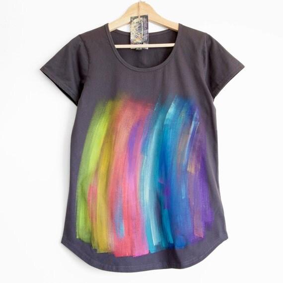 RAINBOW on DARK. Rainbow T shirt. Dark womens cotton t shirt.  Hand painted. Paint streaks.