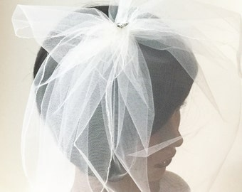 Bridal veil, wedding veil, Birdcage veil, ivory birdcage veil, tulle birdcage veil, small netting veil, small veil, ready to ship,
