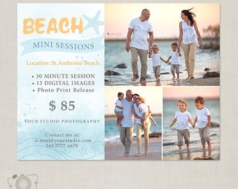 Beach Mini Session Template - Marketing Board for Photographers - Flyer -095 - C306, INSTANT DOWNLOAD