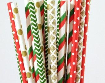 Christmas Paper Straw Mix-Red Straws-Green Straws-Gold Straws-Polka Dot Straws-Striped Straws-Chevron Straws-Damask Straws-Party Straws