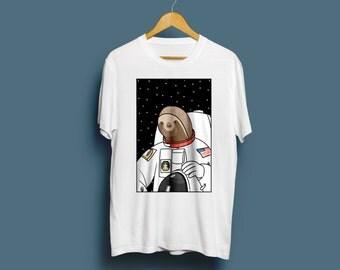 Slothstronaut, Unisex Sloth T-Shirt - Cute T-shirt, Illustrated Tshirt, Gift For Him, Her, Funny Tshirt, Animal Tshirt, Space, S M L XL XXL