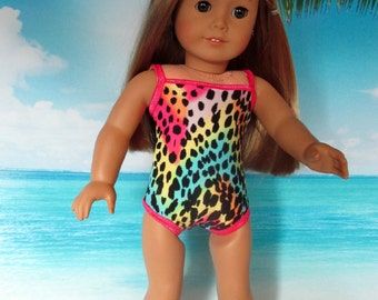 """18 Inch Doll Swimsuit, Girl Doll Clothes, Multi Colored Leopard One Piece, American made to fit 18"""" girl dolls"""