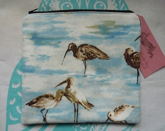 Handmade Makeup Bag Sandpiper Birds Cosmetic Pencil Case Pouch Padded Lined