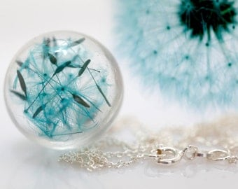 Sterling silver turquoise dandelion necklace. Make a wish.real flowers. seeds magic romantic. glass orb