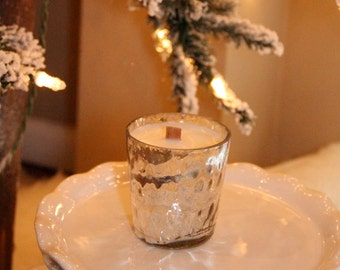 Creme Brulee  scented Hand poured soy candle in silver mercury glass votive with wooden wick