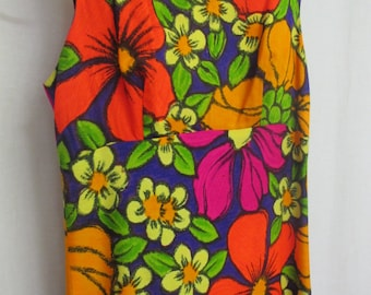 Hawaiian Dress Barkcloth Dress Ti'a Hawaii Dress Empire Waist Mod Dress
