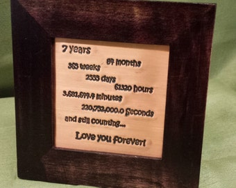 7 years together, 7th Anniversary Gift,  copper engraving, 7 Year Anniversary Gift for Husband Wife, ***IN STOCK***