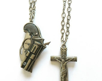 Vintage Outlaw Gun/Knife and Crucifix/Knife Necklaces
