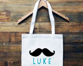 Hipster Mustache Personalized Tote Bag// School Book Bag