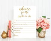 Advice for Bride-to-Be, Printable Card - Bridal Shower Game - Instant Download - Bridal Shower Printable - Gold Confetti - Advice Cards BRS1