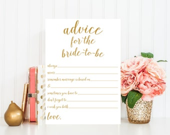 Advice for Bride-to-Be Printable, Bridal Shower Game Printable, Printable Bridal Shower Game,  Advice Cards for Bride, Gold Confetti BRS1