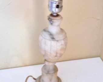 Lovely Vintage Alabaster Carved Table Dresser Lamp