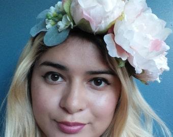 Pastel Pink Peony Headband