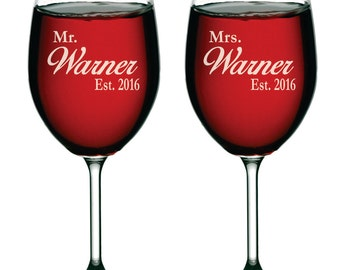 Custom Wine Glasses, Personalized Wine Glasses, Mr and Mrs Gifts, Mr and Mrs Glasses, Etched Wine Glasses, Engraved Wine Glass, Set of 2