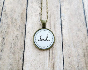 Doula Handcrafted Pendant Necklace - Silver or Antique Brass