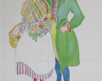 Original Aina Stenberg Masolle Artist Signed Postcard - Swedish Couple In Traditional Costume - Free Shipping