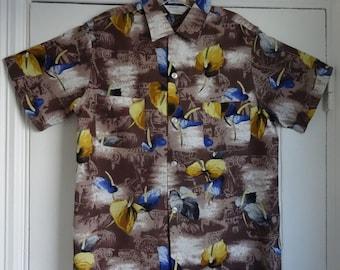 50's Rayon Shirt Hawaiian Tropical Dead Stock Shirt Medium