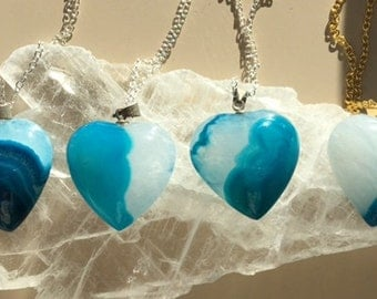 Small Mixed Blues Agate Hearts Pendants - Valentine Heart Gift Necklaces