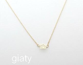 Gold Lotus Necklace - Lotus Necklace, Dainty Necklace, Thin Necklace, Everyday Necklace, Small Necklace, Bridesmaid Necklace