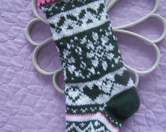 Handknit Fair Isle stocking, Handknit Christmas stocking, Multi color stocking, Stocking decoration, Green Xmas stocking, Snowflake stocking