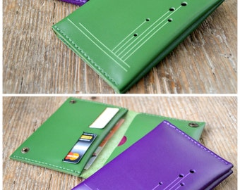 Leather passport cover, passport holder, green or purple, travel wallet, cash card holder, hand stitched, for men & women