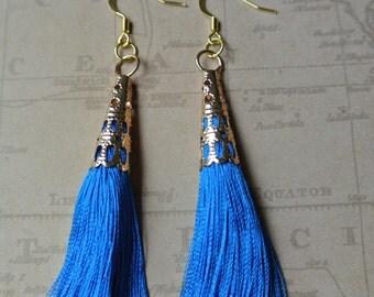 Azure Tassel Time Earrings