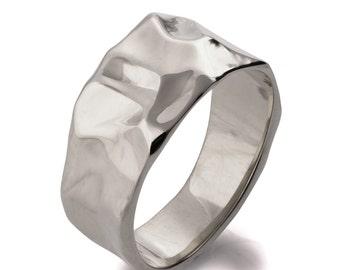 Butter No.2 - 18K White Gold Wedding Band, 18K Gold Ring, white gold wedding ring, wedding ring, wedding band, mens band, white gold ring,