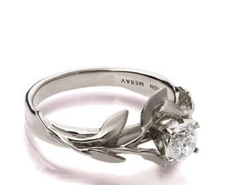 Leaves Engagement Ring 4, 18K White Gold Moissanite engagement ring, engagement ring, leaf ring, game of thrones jewelry, Moissanite Ring