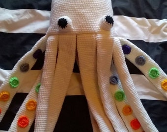 Handmade, Rainbow Giant Squid, Tentacle, Cephalopod, Plush Stuffed Toy, READY TO POST!
