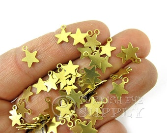 200 pcs Raw Brass Mini Star Charms, 10x8mm Tiny Star Findings, High Quality Raw Brass Findings