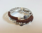 Brown Leather and Silver Memory Wire Wrap Bracelet