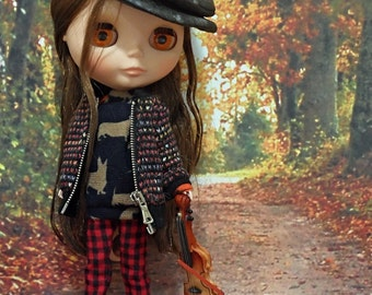 blythe clothes,Pants gingham check red