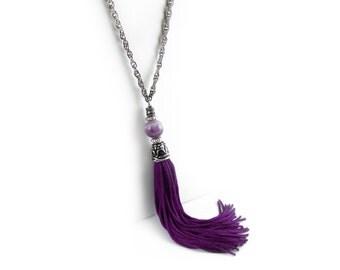 Bohemian Necklace, Tassel Necklace, Amethyst Necklace, Purple Tassel Chain Necklace, Tassle Necklace, Tassel Jewelry, Choose your Length