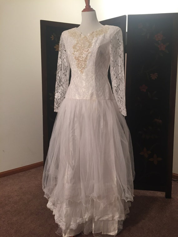 Vintage wedding dress lace 1980 drop waist by for Lace drop waist wedding dress