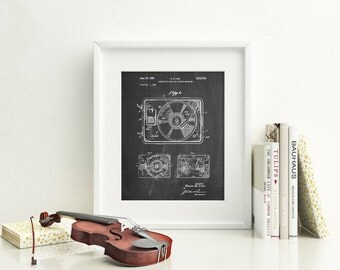 Record Player Patent Poster, Turntable, Music Lover Gift, Music Room Decor, Office Art, Hipster Decor, Vinyl Record, PP1009