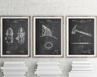 Firefighter Patent Posters Group of 3, Fire Hydrant, Fireman Helmet, Firefighter Axe, Fireman Gift, Firefighter Wall Art, PP1155