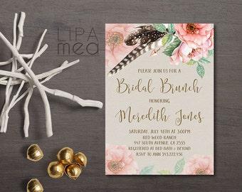 Bridal Brunch Invitation Printable, Floral Bridal Brunch Shower Invitation, Spring Summer Boho Bridal Brunch Invitation, Boho Bridal Shower