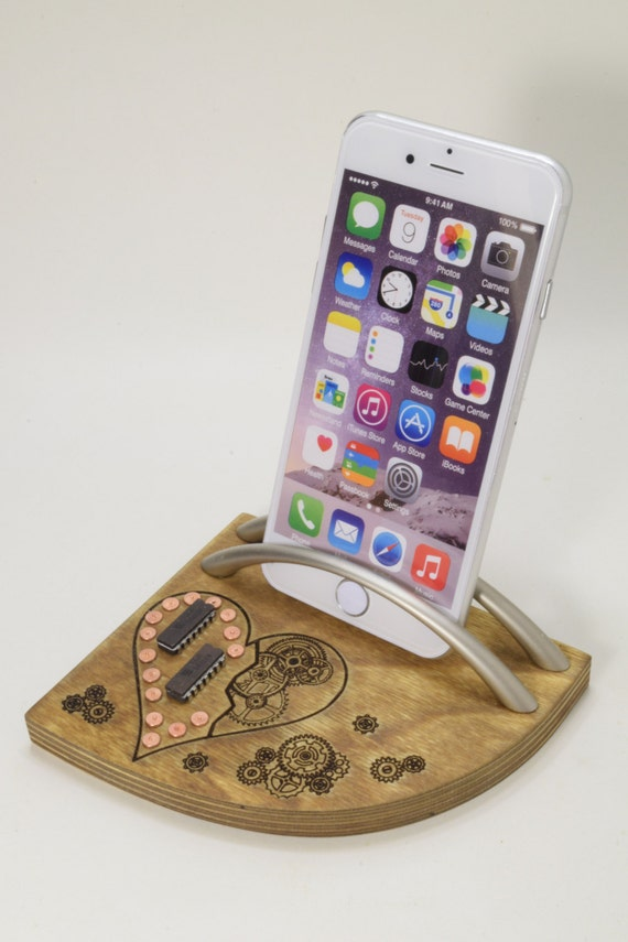 Steampunk Copper Heart - iPhone stand, Phone stand, Docking station - Graduation Day Gift Idea - Gift for Him - Unique Gift