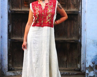 Khadi Cotton Dress with vintage hand embroidery necklines
