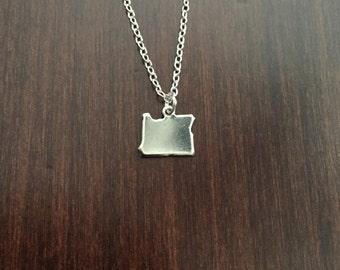 Oregon Necklace, Oregon, silver Oregon necklace, Oregon jewelry, Oregon pendant, state necklace, state jewelry, necklace, silver necklace