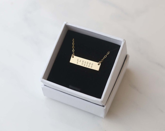 Mothers Necklace//Personalized gold bar necklace //Customized name bar necklace , Mothers day Gift
