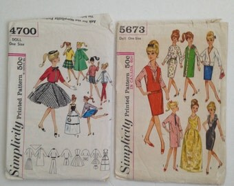 Two Vintage/Original 1960's Barbie Sewing Patterns:  Simplicity #4700 and Simplicity #5673