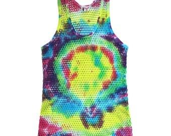 Neon Rainbow 1990s Vintage Tie Dye Mesh Tank Top Size M E D I U M